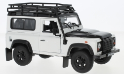 Modelcar - <strong>Land Rover</strong> Defender, white/black, with roof rack<br /><br />Welly, 1:24<br />No. 234108