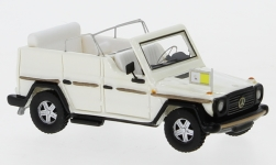 ModelCar - <strong>Mercedes</strong> 230 G Papamobil, metallic-weiss, 1980<br /><br />BoS-Models, 1:87<br />No. 234595