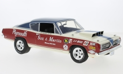 Modellauto - <strong>Plymouth</strong> Barracuda, wit/purper, Sox & Martin, 1968<br /><br />Highway 61, 1:18<br />Nr. 235159