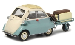 Modelcar - <strong>BMW</strong> Isetta, light turquois/beige, with trailer and luggage<br /><br />Schuco, 1:43<br />No. 235268