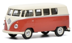 Modelcar - <strong>VW</strong> T1 bus, red/light beige<br /><br />Schuco, 1:64<br />No. 235273
