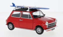 Modelcar - <strong>Mini</strong> Cooper 1300, red/black, with Surfboard, 1974<br /><br />Welly, 1:24<br />No. 235627