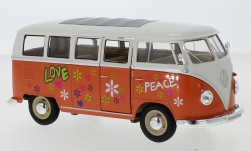 voiture miniature - <strong>VW</strong> T1 bus, orange/blanche, Flower Power, 1963<br /><br />Welly, 1:24<br />N° 237230