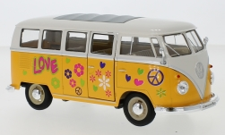 Modellauto - <strong>VW</strong> T1 Bus, dunkelgelb/wit, Flower Vermogen, 1963<br /><br />Welly, 1:24<br />Nr. 237232