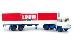Modelcar - <strong>Scania</strong> LB 76, Findus dypfryst, refrigerated container-SZ, 1960<br /><br />Brekina, 1:87<br />No. 238605