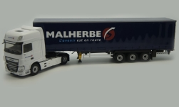 Modelcar - <strong>DAF</strong> XF MY super Space Cab, Malherbe, curtain side-trailer truck<br /><br />Eligor, 1:43<br />No. 238871