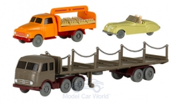 Modellino - <strong>Set</strong> Wiking-traffico-modelli 86, Jaguar XR 120 R, MB LPS 333 rimorchio e Opel flash bibite-camion<br /><br />Wiking / PMS, 1:87<br />n. 238984