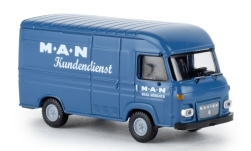 Modelcar - <strong>Saviem</strong> SG2 box wagon, MAN customer service, 1965<br /><br />Brekina, 1:87<br />No. 239315