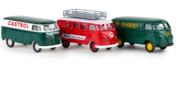 Modelcar - <strong>Set</strong> Der VW transport an the Rennstrecke, Castrol, Mobil, BP, 1960<br /><br />Brekina, 1:87<br />No. 239371