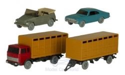 Modellino - <strong>Set</strong> Wiking-traffico-modelli nr. 89, MB Viehtransporterhängerzug, Opel commodore Coupé e VW 181<br /><br />Wiking / PMS, 1:87<br />n. 241265