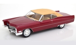 Modelcar - <strong>Cadillac</strong> DeVille Convertible, metallic-dark red/beige, canopy closed, 1967<br /><br />KK Scale, 1:18<br />No. 242558