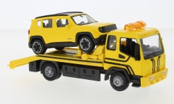 Modellauto - <strong>Set</strong> Abschlepper, geel, met Jeep Renegade<br /><br />Bburago, 1:43<br />Nr. 242680