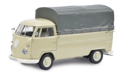 Modellauto - <strong>VW</strong> T1b Pritsche, beige, Plane abnehmbar<br /><br />Schuco, 1:32<br />Nr. 243591