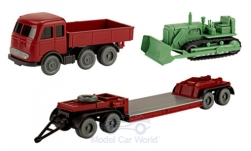 Modelcar - <strong>Set</strong> Wiking-Traffic-models 92, MB LPS 333 Heavy-Load-truck, low-loader and grader bulldozer<br /><br />Wiking / PMS, 1:87<br />No. 243848