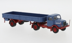 Modelcar - <strong>IFA</strong> S 4000-1, blue/red, flatbed platform trailer-SZ, 1960<br /><br />Brekina, 1:87<br />No. 244964