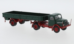 Modelcar - <strong>IFA</strong> S 4000-1, dark green/red, flatbed platform trailer-SZ, 1960<br /><br />Brekina, 1:87<br />No. 244966