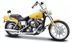 Modellauto - <strong>Harley Davidson</strong> FXDWG Dyna Glide Wide, gelb, 2001<br /><br />Maisto, 1:18<br />Nr. 245088