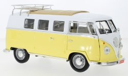 Modellauto - <strong>VW</strong> T1 Stationwagon, geel/wit, met Dakdragers en Accessoires, 1962<br /><br />Lucky Die Cast, 1:18<br />Nr. 246847