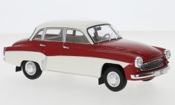 Modellauto - <strong>Wartburg</strong> 312, rood/wit<br /><br />WhiteBox, 1:24<br />Nr. 247161
