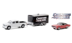 Modelcar - <strong>RAM</strong> 1500, white, Counting Cars, with Zweiachs-passenger car-trailer and 1968 Dodge Charger, 2014<br /><br />Greenlight, 1:64<br />No. 247692