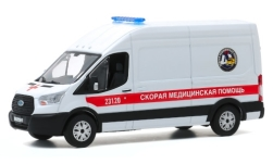 ModelCar - <strong>Ford</strong> Transit LWB HD, Fast Medical Aid - St. Petersburg, Ambulanzwagen, 2019<br /><br />Greenlight, 1:43<br />番号 247721