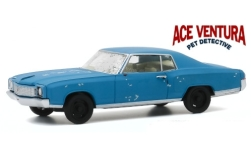 Modelcar - <strong>Chevrolet</strong> Monte Carlo, mattblue, Ace Ventura - Pet Detective, with used look, 1972<br /><br />Greenlight, 1:43<br />No. 249177