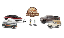 Modellauto - <strong>Kleindiorama</strong> 6er-Set: The Great Outdoors, 4 PKW und 2 Figuren<br /><br />Greenlight, 1:64<br />Nr. 251353